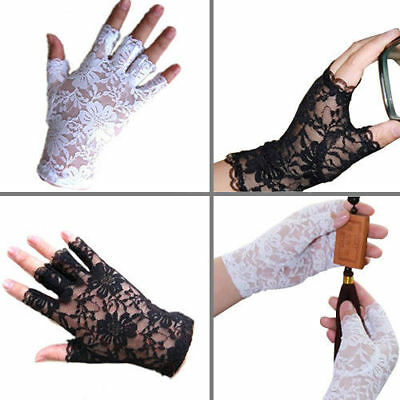 Black White Women's Lace Party Costume Mittens Gloves Fingerless Gloves Wedding