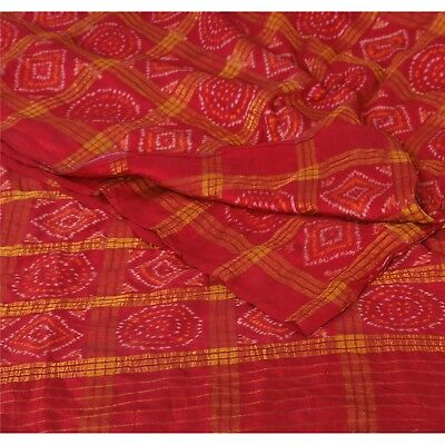 Sanskriti Vintage Red Saree 100% Pure Silk Woven Sari Soft Craft Fabric