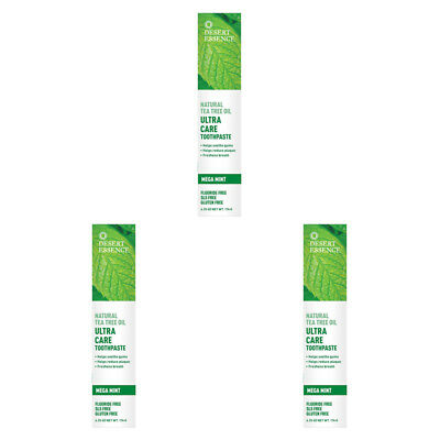 3X New Desert Essence Tea Tree Oil Ultra Care Toothpaste Helps Soothe Gums Care