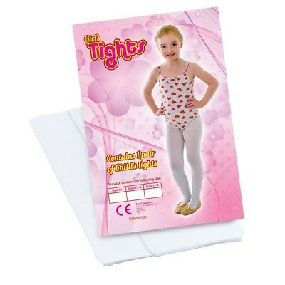 Large White Girls Ballet Tights - Dress Fancy Accessory Childs 1114 Dance