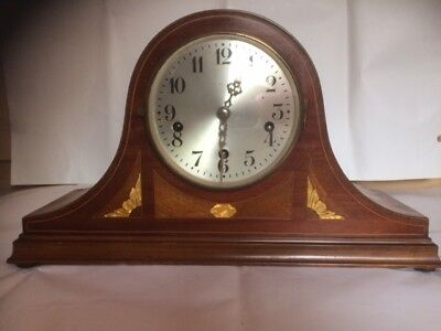 Napoleon Chiming Mantle Clock, Platform Escapement, With Inlaid Veneer Case