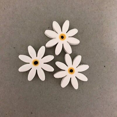 25mm CERAMIC DAISIES FLOWERS - x3 - White ~ Ceramic Mosaic Tiles
