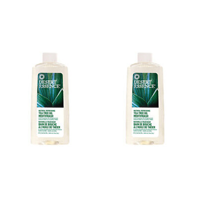 2X Desert Essence Tea Tree Oil Mouthwash Refreshing Oral Dental Care No Sugar