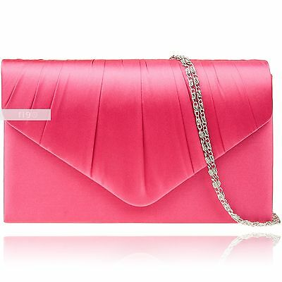 Fuchsia Satin Wedding Ladies Party Prom Evening Clutch Hand Bag Purse Handbag