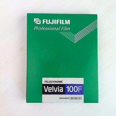 """1 package (10 sheets) of Fujichrome Velvia 100F, 4x5"""" format, expired"""