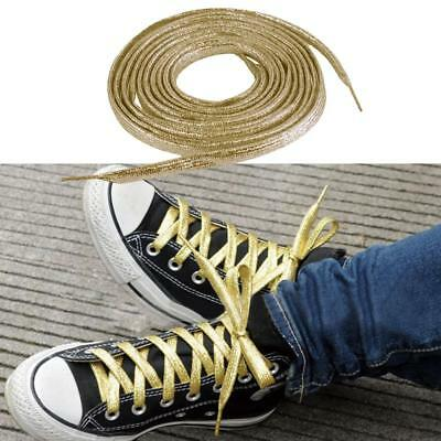 Metallic Glitter Gold Flat Shoe Laces String for Sneakers Trainer Shoelace