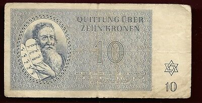 1943  Theresienstadt concentration camp 10 kronen banknote
