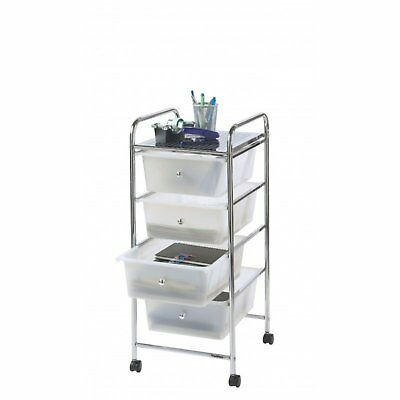 VonHaus 4 Drawer Mobile Storage Trolley for Home Office - Beauty Salon White