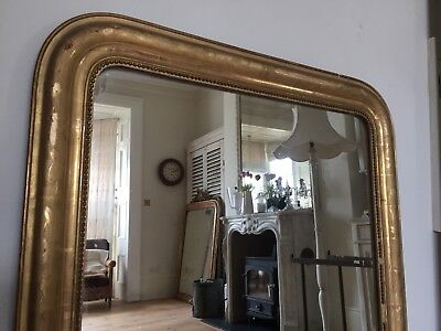 19th Century French Gilt Louis Philippe Mirror Original Glass Great Condition