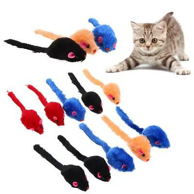 10pcs/Lot Colorful Fur False Mouse for Pet Kitten Cat Toy Mini Funny Playing Toy