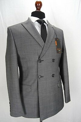 Men's Ben Sherman Slim Fit Mod Suit Grey Double Breasted Size 38 40 42 44 VB13