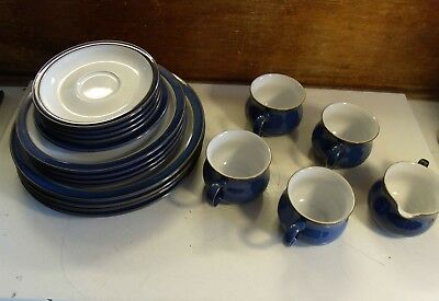 Denby Imperial Blue 4x Dinner/Side Plate Set Stoneware Tea Cup Saucer Milk Jug