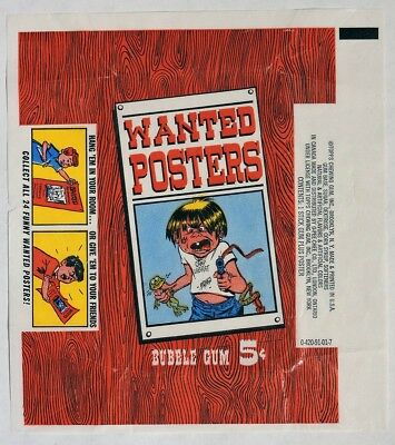ESA1433. Vintage: WANTED POSTERS Wax Wrapper from Topps Chewing Gum (1967) [
