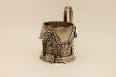 Antique Original Silver Russian Man Decorated Amazing Strong  Cup Holder