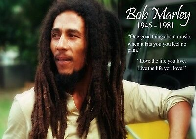 Bob Marley Music Quote REMEMBRANCE Photo Poster Only Wall Art Size A4