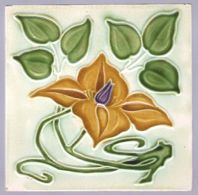 Corn Brothers - c1905 Amber & Purple Flower - Antique Art Nouveau Majolica Tile
