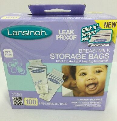 Lansinoh Breastmilk Breast Pump Storage Bags 100 Count Freezable Lay Flat
