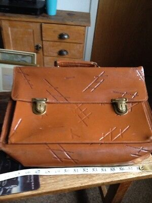 Briefcase Vintage Leather Brown With Locks And Key Original