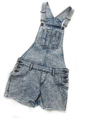 Girls Stone Wash/Faded Pale Blue Denim Dungarees/Shorts - Size Age 14 Years