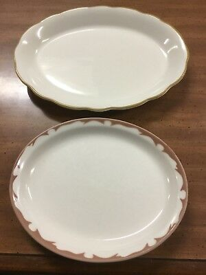 2 Vintage Buffle China Platters White with Red/Brown Trim