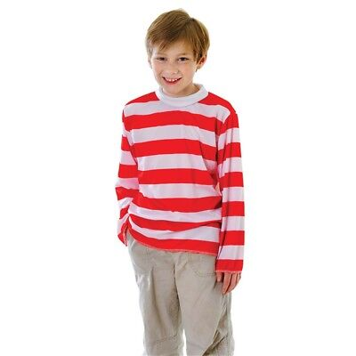 Large Red & White Striped Boys Costume Top - Fancy Dress Week Book Girls Unisex