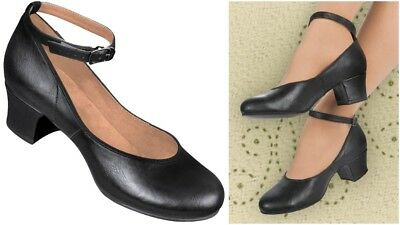 Aris Allen Womens Ankle Strap Character Shoes 6.5 Black 1950's Leather Dance Wow