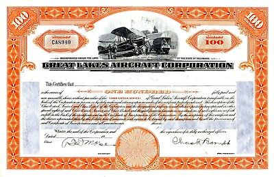 Great Lakes Aircraft Corporation signed but unissued Stock Certificate