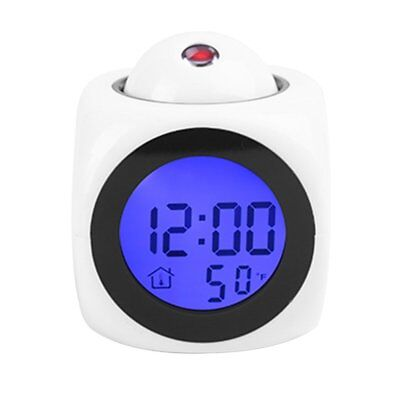 @_LCD Projection Voice Talking Digital Alarm Clock with Temperature Display LQ