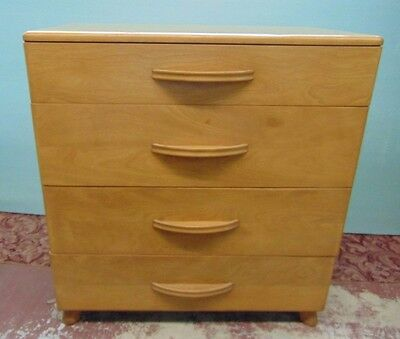 Heywood Wakefield 4 Drawer Chest Drop Front Wheat Mid Century Modern