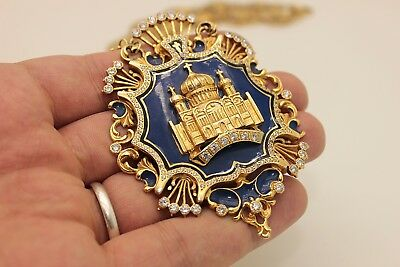 Antique 14K Gold Enamel Russian Kings And Eagle Decorated Amazing Necklase