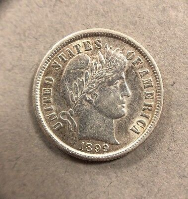 1899 10 Cent Barber Silver Dime Collectible Coin