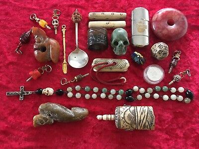Collection job lot jade silver hediao collectables dice netsuke hongshan skull