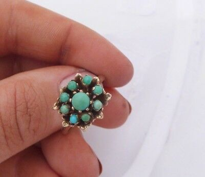 Fine 9ct/9k gold natural Turquoise heavy cluster ring, 375