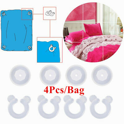 @t_4Pcs Plastic Bedroom Bedding Quilt Cover Clip Fasteners Fixing Holder Gripper