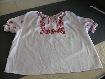 Vintage Hungarian Cross Stitch Red and White Blouse Peasant Large Nyiregyhaza