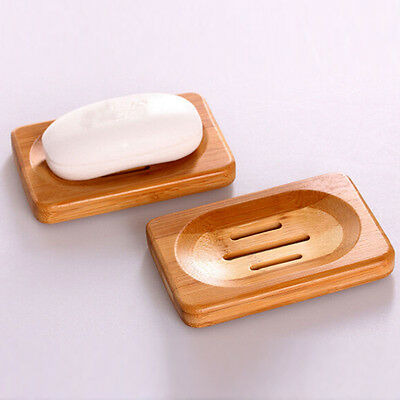 @_Natural Bamboo Wood Soap Dish Storage Holder Bath Shower Plate Bathroom B^^&@
