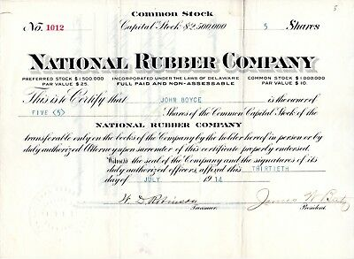 The National Rubber Company of Delaware 1914 Stock Certificate
