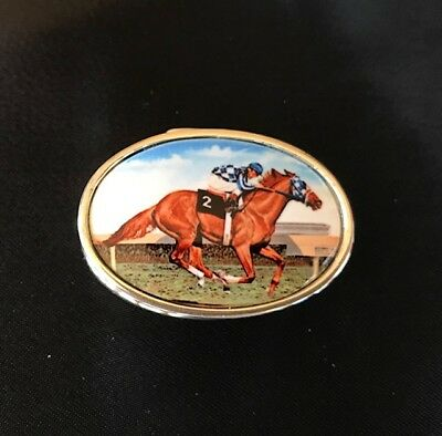 Enamel antique style sterling silver pill box brand new Derby themed