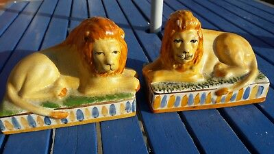 early 19th century staffordshire lion bookends
