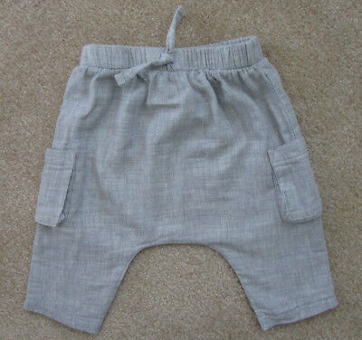 Infant Baby Boys Girls Pants Pull On Harem Faux Linen Cotton Heathered Gray 0-3