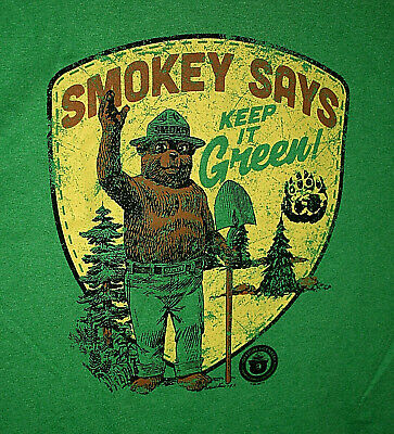Vintage Looking Smokey The Bear Says Keep It Green T-Shirt New NOS Size Large