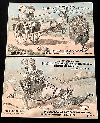 2 Antique Victorian Trade Cards JW Fitts Titsworth Malaria Cure Peacock Vail Bro