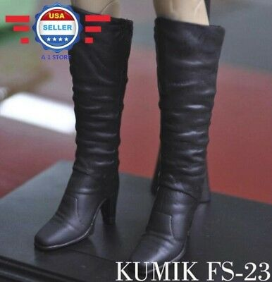 KUMIK 1/6 Black High Heel Boots HOLLOW for 12'' Female Figure Doll Phicen