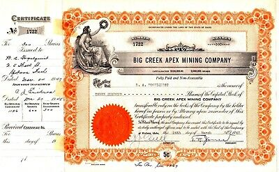 Big Creek Apex Mining Company of Wallace, Idaho 1945-1947 Stock Certificate