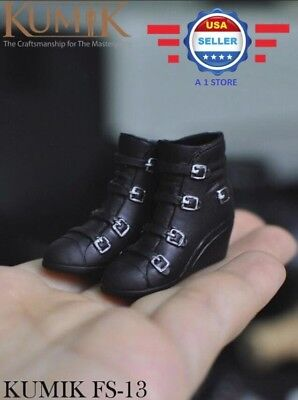 KUMIK 1/6 Black Ankle Wedges Boots HOLLOW for 12'' Female Figure Doll Phicen