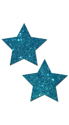 One Size Fits Most Womens Teal Glittering Star Pasties, Teal Star Nipple Pasties
