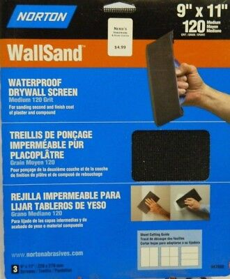 "Norton WallSand Drywall sanding sheets 9""X11""  120 Grit  (3 pack)"