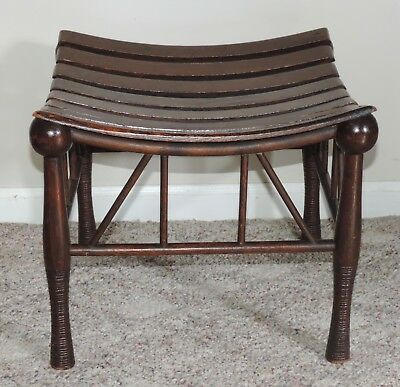 Antique Thebes Stool Slat Top Egyptian Revival Aesthetic Movement Mahogany Brown