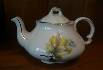Vintage Ellgreave Tea Pot With Yellow Flowers and Pine Made In England