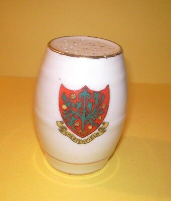 Grafton Crested China Barrel Pepper Pot  Chesterfield Crest